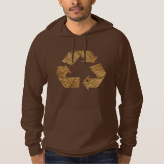 Brown Recycle Sign Hooded Pullovers
