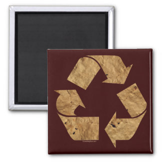 Brown Recycle Sign Square Magnet