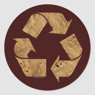 Brown Recycle Sign Stickers