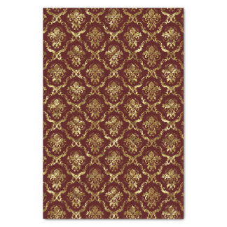 Brown-Red And Faux Shiny Gold Floral Damasks Lace Tissue Paper