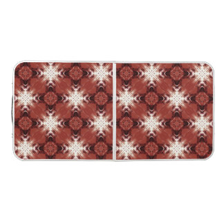 Brown, Red And White Patter Beer Pong Table