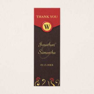 Brown Red Swirls Small Wedding Favour Favor Tags Mini Business Card