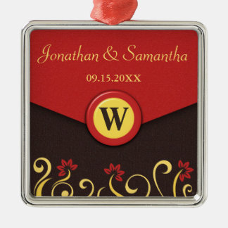 Brown Red Yellow Floral Swirls Wedding Ornament Christmas Tree Ornaments