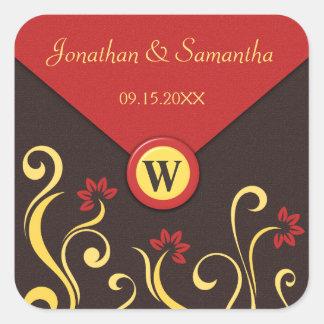 Brown Red Yellow Swirls Wedding Favor Stickers