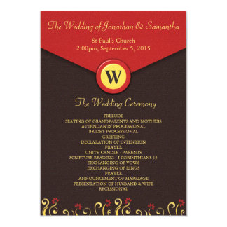 Brown Red Yellow Swirls Wedding Program Templates 13 Cm X 18 Cm Invitation Card