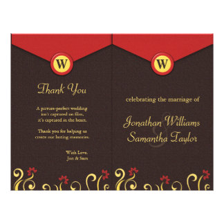 Brown Red Yellow Swirls Wedding Program Templates 21.5 Cm X 28 Cm Flyer