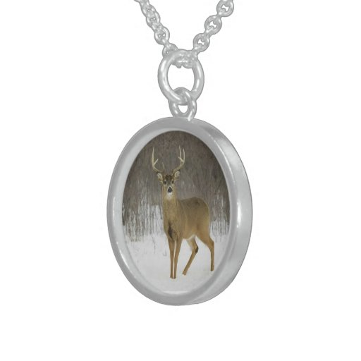 Brown Reindeer - Sterling Silver Round Necklace