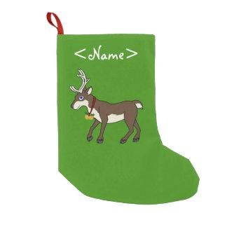 Brown Reindeer with Jingle Bells & Christmas Holly