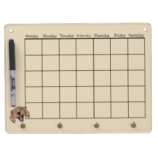 Brown Retriever Calendar Dry Erase Board With Key Ring Holder