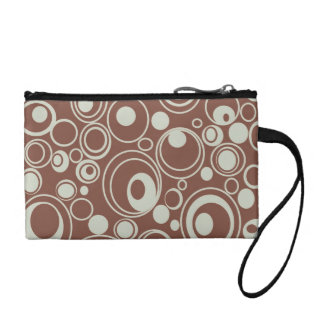 Brown Retro Circles Coin Purse