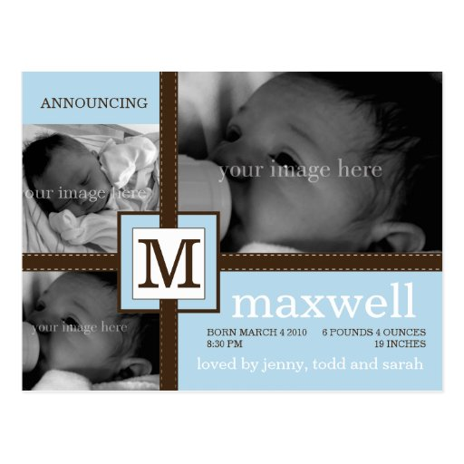 Brown Ribbon Baby Announcement Postcards