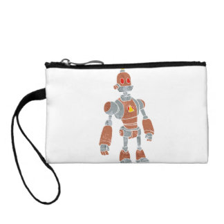 brown robot with lamp head coin purse
