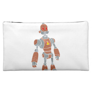 brown robot with lamp head cosmetic bags