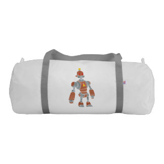 brown robot with lamp head gym duffel bag