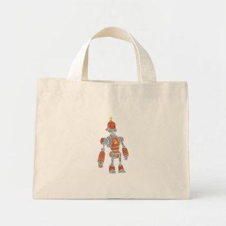 brown robot with lamp head mini tote bag
