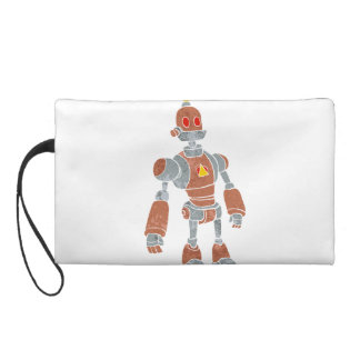 brown robot with lamp head wristlet purse
