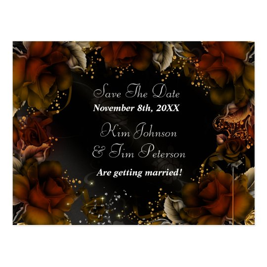 Brown Roses Fall Autumn Floral Wedding Postcard