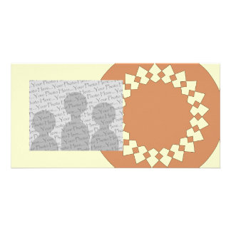 Brown Round Wheel Pattern Graphic Design. Customised Photo Card