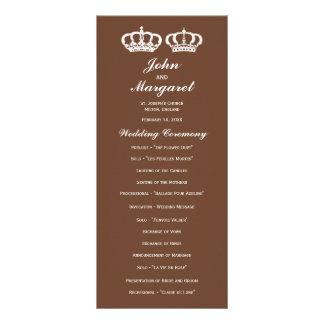 Brown Royal Couple Wedding Program Custom Rack Cards