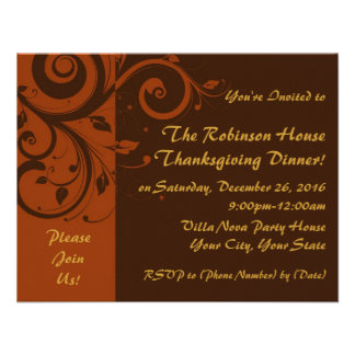 Brown Rust Reverse Swirl Holiday Party Invitations