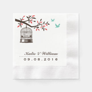 Brown Rustic Bird Cage Wedding Paper Napkins