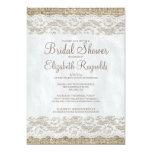 Brown Rustic Lace Bridal Shower Invitations