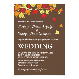 Brown Rustic Maple Leaves Fall Wedding Invitation