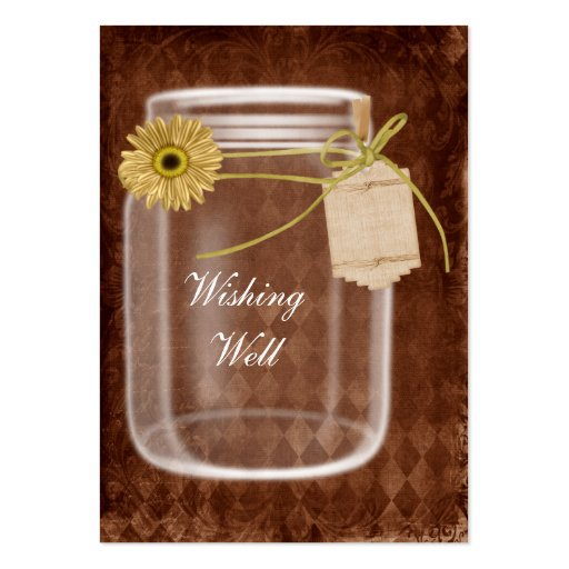 brown rustic mason jar wishing well cards business card template