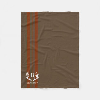 Brown Rustic Style Name | Monogram Fleece Blanket