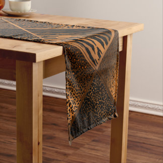 Brown Safari Animal Geometric Patterns Short Table Runner