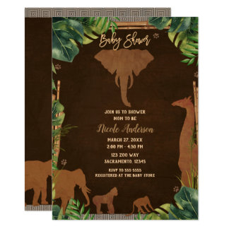 Brown Safari Jungle Zoo Animals Baby Shower Card