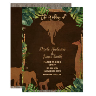 Brown Safari Jungle Zoo Animals Modern Wedding Card