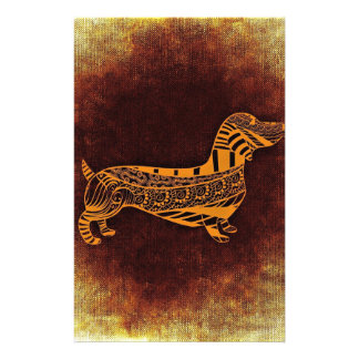 Brown sausage dog graphic personalized stationery