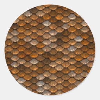 Brown scales pattern classic round sticker