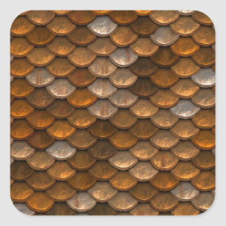 Brown scales pattern square sticker