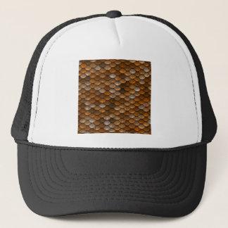 Brown scales pattern trucker hat
