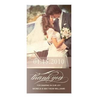 BROWN SCRIPT THANKS | WEDDING THANK YOU CARD CUSTOMISED PHOTO CARD