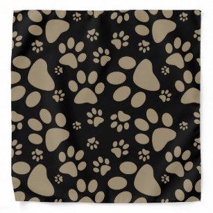 Brown Sepia Paw-Prints Bandana