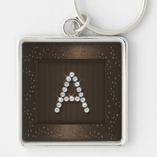 Brown Shimmer and Sparkle with Monogram Key Chain