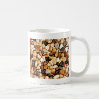Brown shiny beach pebbles print coffee mugs