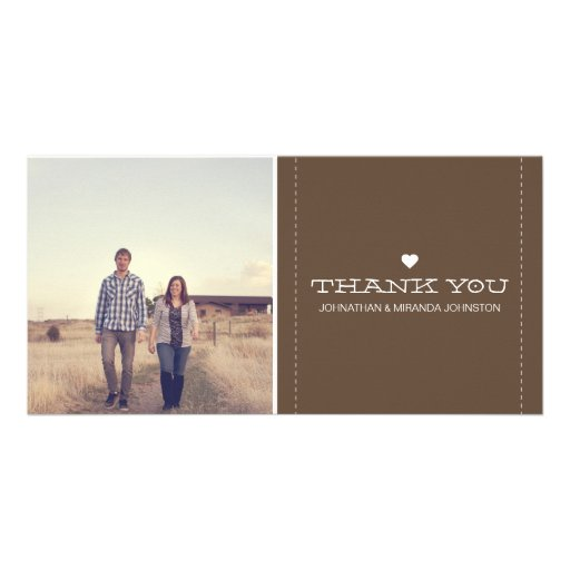 Brown Simply Chic Photo Wedding Thank You Cards Personalized Photo Card