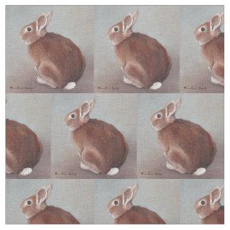 Brown Sitting Bunny Animal Art Fabric