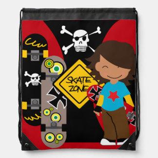 Brown Skateboarding Dude Drawstring Backpack Bag