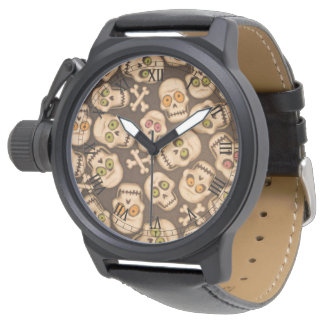 brown skull heads with colorful eyes wrist watch