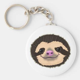 brown smiling sloth face key ring