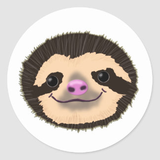 brown smiling sloth face round sticker