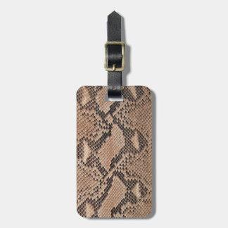 Brown Snakeskin Look Bag Tag
