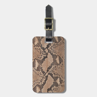 Brown Snakeskin Look Luggage Tag