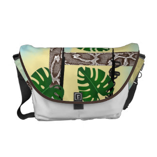 Brown Snakeskin Tropical Leaves Messenger Bag