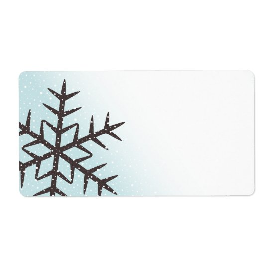 Brown snowflake snow pale aqua blue blank label